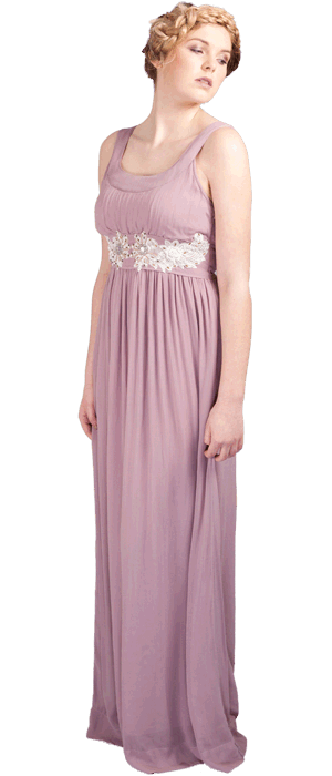 Camille maxi  (contrast embellished ivory lace under bust placement)  horseshoe neckline ties at back with sash tie. Fabric: 100% viscose georgette.   U.K sizes: 8-16 Colours: cloudy lilac,